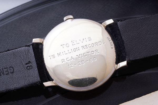 Elvis Presley Omega Tiffany Signed RCA Victor Engraved Phillips Geneva Watch Auction Seven