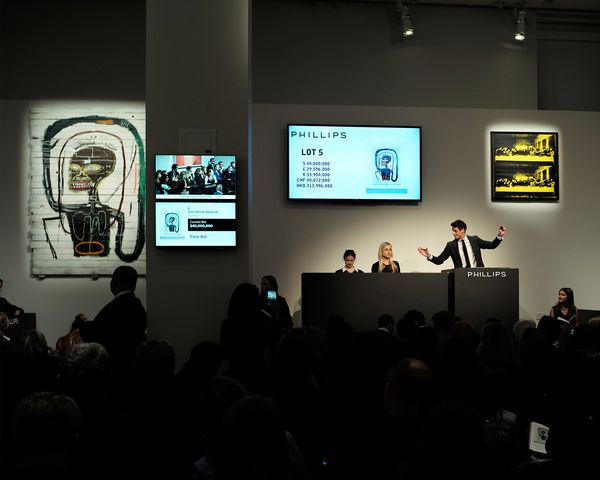 World auction records for Robert Motherwell, Pat Steir and Cory Arcangel punctuated an evening headlined by Jean-Michel Basquiat's 'Flexible', 1984, which sold from the artist's estate for more than double its estimate.