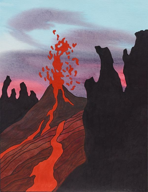 The artist's volcano series materializes nature's beauty, unpredictability, and power.