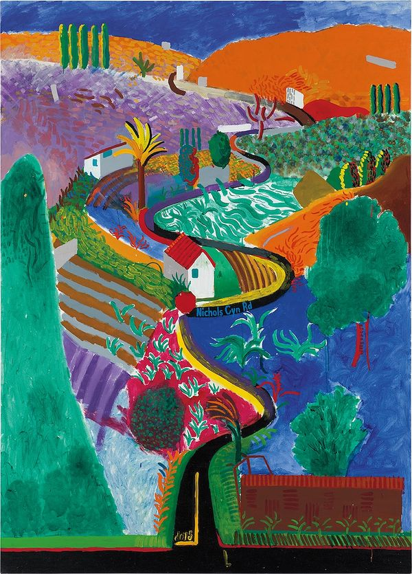 In 'Nichols Canyon,' Hockney turns commuting into art form, capturing every sensation of his hilly, winding drive.