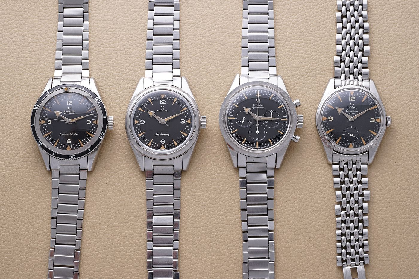 "Known today by collectors as ""The Holy Trinity"", the Seamaster 300 (ref. CK 2913), Railmaster (ref. CK 2914), and the Speedmaster (ref. CK 2915) were introduced in 1957 to make Omega competitive in one of the fastest growing segments of the watch market: professional tool watches. These were followed swiftly with the release of a fourth model, the Ranchero aka ""The Fourth Musketeer"", in 1958. Arthur Touchot breaks down what makes each watch individually unique and explains why together, the ""Broad Arrow"" models form one of the most successful product launches of the 20th century."