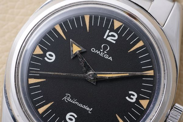 Omega Railmaster ref 2914-1 with broad arrow hands for Phillips Geneva Watch Auction Eight