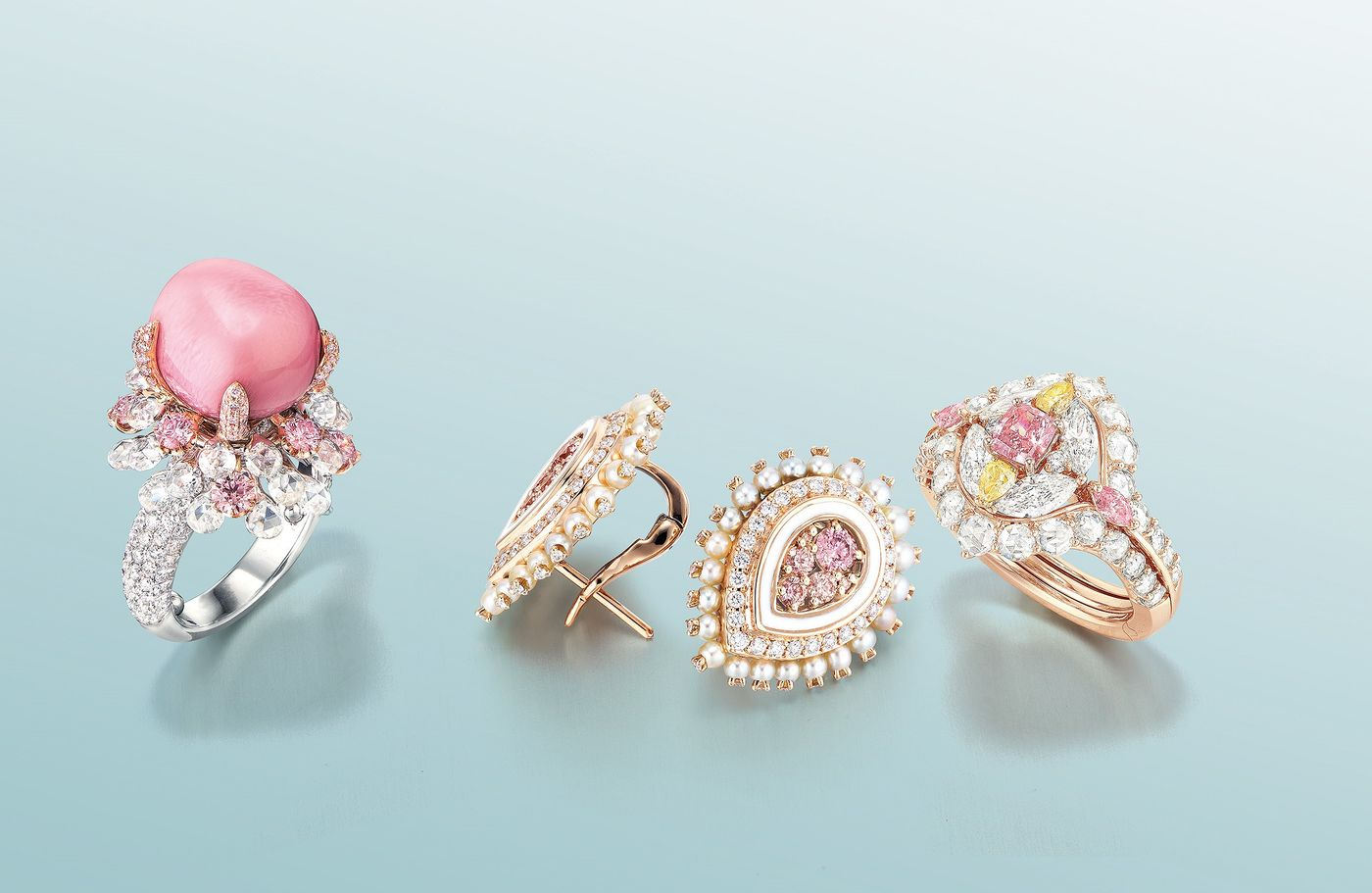 This season, Sarah Ho, Paige Parker and Karen Suen created bespoke Argyle pink diamond jewels for auction in Hong Kong.