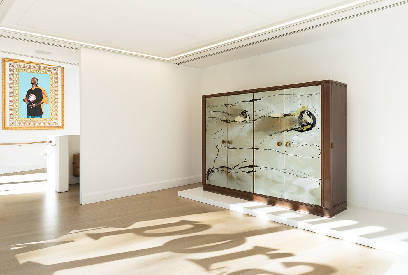 Belonging to a series of furniture created by Fontana and Borsani, a dynamically painted wardrobe in walnut highlights our month of important design in London.