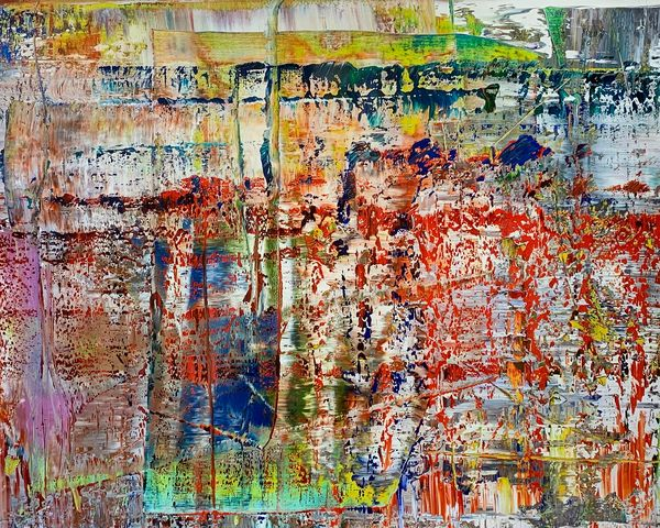 Each work hints at an internal truth existing on the canvas, obscured by a myriad of bands and smears of vibrant color.