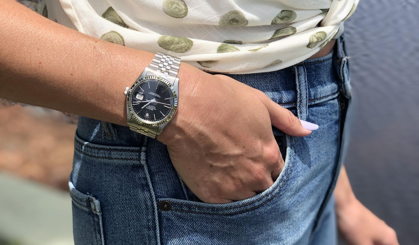 Our New York Business Development Manager, Daniella Rosa, shares her journey to her first vintage watch, a stainless steel Rolex Datejust ref. 16014 with a glossy black dial from 1978.