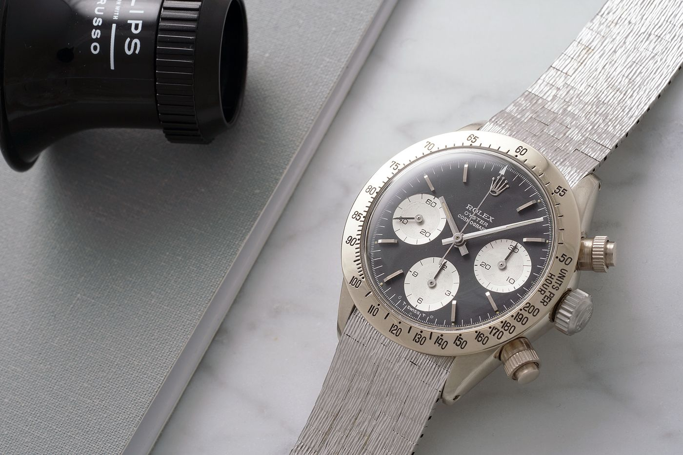PHILLIPS  The Only Known Vintage White Gold Rolex Daytona