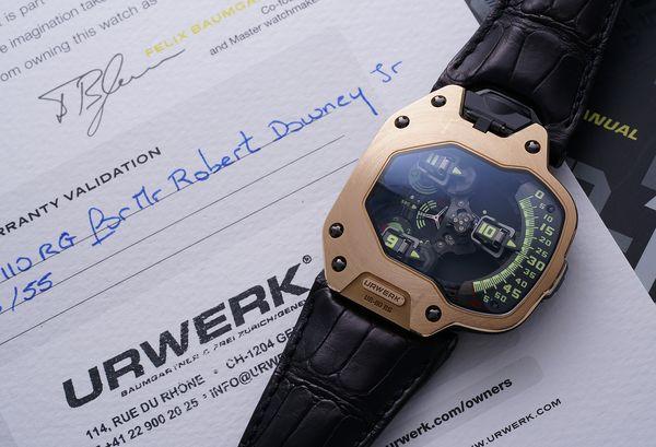 The Urwerk UR-110RG worn by Robert Downey Jr. Spiderman: Homecoming.
