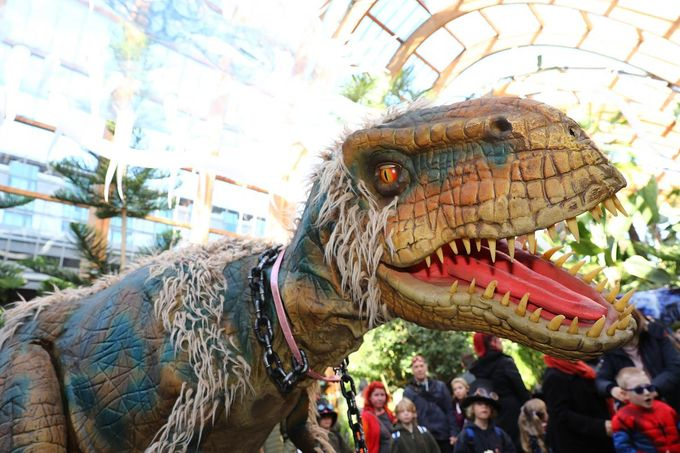 Robotic Dinosaur in Sheffield's Winter Gardens as part of the Out of This World Festival