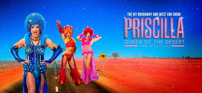a press shot of priscilla queen of the desert, a play performed at Sheffield Theatres in Sheffield City Centre