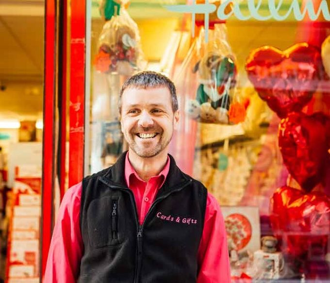 Carl Dunne, Owner of Cards & Gifts, Chapel Walk