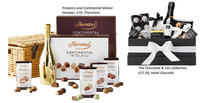 graphic of thorntons chocolate hamper and hotel chocolat gift box