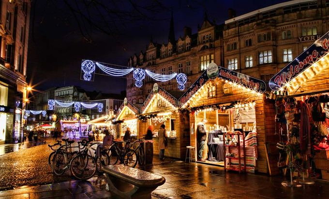 Image of the markets with christmas lights at Sheffield City Centre Christmas Markets