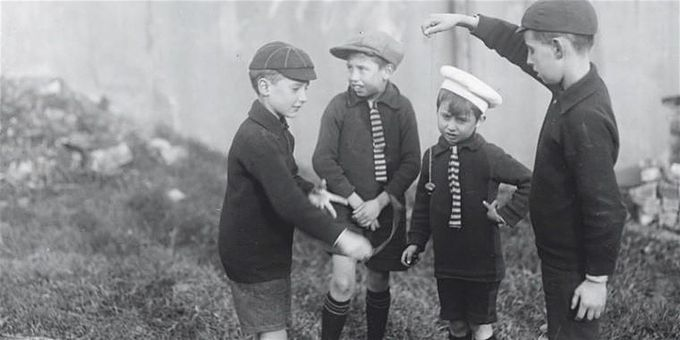 vintage photograph of children for used as a press image for Conker Kids,  a play performed at Theatre Deli in Sheffield City Centre