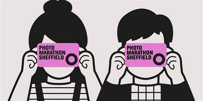 black and white illustration male and female holding purple camera saying photo marathon sheffield pointing it facing forward