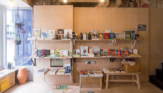 Bookshelves with books at Sheffield City Centre's La Biblioteka