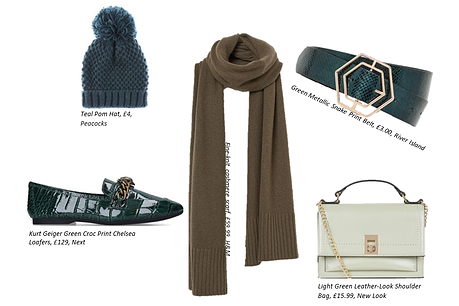collage of green accessories including a green bobble hat, green scarf, green shoes, green snakeskin belt and pastel green bag