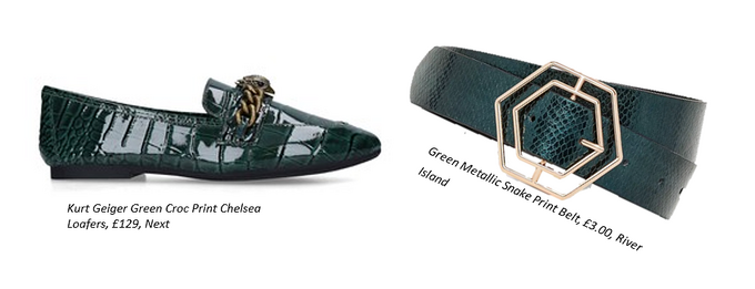 green crocodile print loafers and green snakeskin belt with gold hexagonal buckle