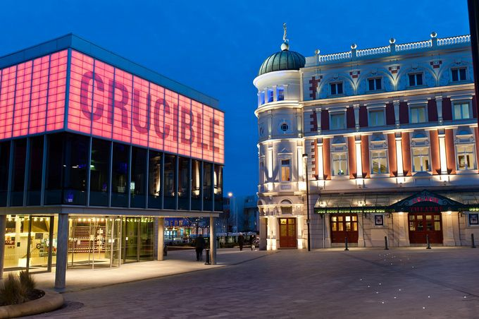 Shot of the crucible theatre and lyceum theatre in sheffield city centre