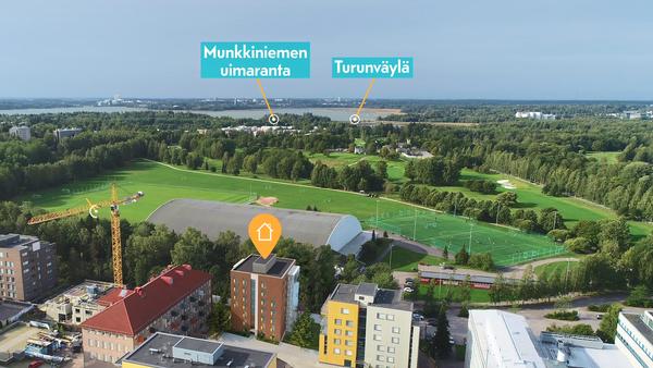 Kuvassa Talinlehdon asuinalue, Talin liikuntapuisto ja Munkkiniemi.