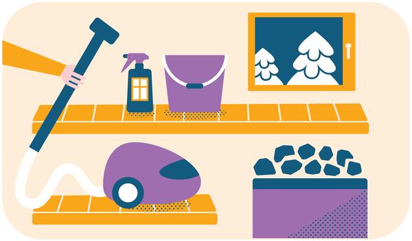 Piirroskuva saunasta ja puhdistusvälineista - imuri, pesuneste ja vesiämpäri | SATO