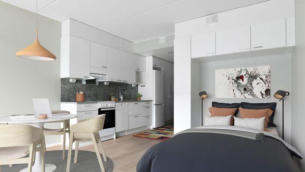 Digitaalisesti sisustettu koti Kontulassa, alkovi ja keittiötila | SATO
