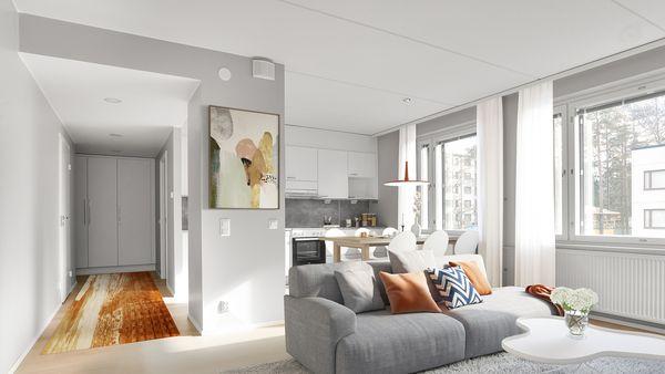 Digitaalisesti sisustettu koti Kontulassa, olohuone ja keittiötila | SATO