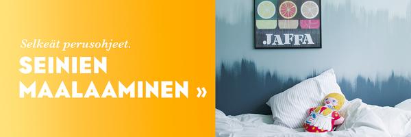 Linkki seinien maalaamisohjeisiin, kuvassa monisävyinen tehosteseinä makuuhuoneessa.