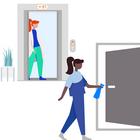 ISS Hygiene Stewards reinigen und desinfizieren regelmässig häufig berührte Touchpoints. Die erhöhte Hygiene sorgt dafür, dass sich Mitarbeitende und Gäste sorglos im Gebäude bewegen können.