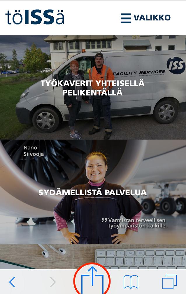 Toissa.iss.fi –näin lisäät kirjanmerkin kotivalikkoon.
