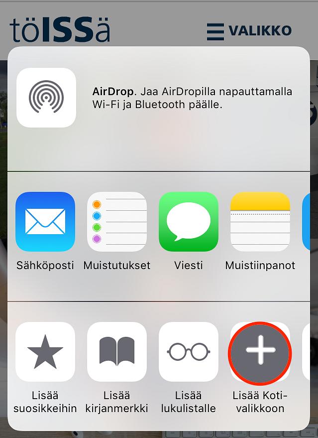 Näin lisäät TöISSä-lehden kotivalikkoosi.